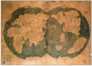 a 1763 Chinese reproduction of a 1418 map made from Zheng He's voyages